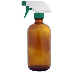 large amber colored spray bottle