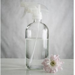 large clear glass spray bottle
